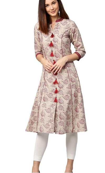 Kurta With Tassel Buttons And Panels For Office