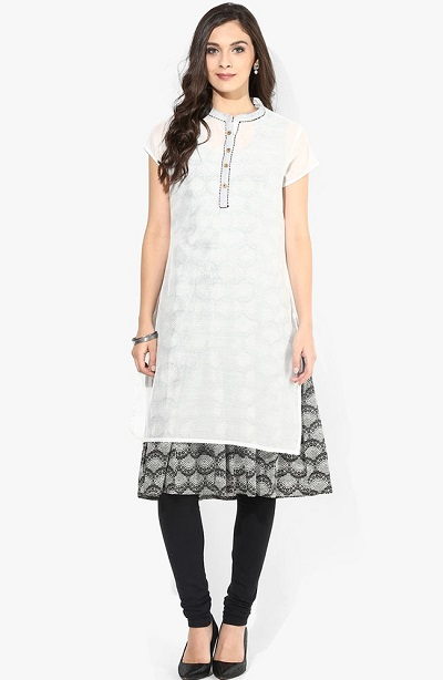 Layered Office Wear Kurti In White And Blac