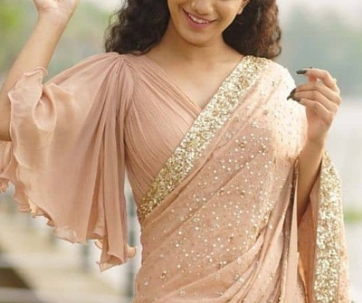 Light Pink Flared Sleeves Saree Blouse Pattern