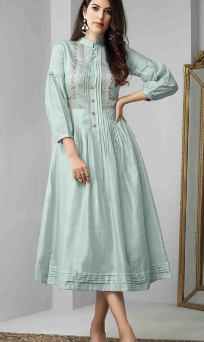 Long Kurta With New Model Sleeves And Centre Placket