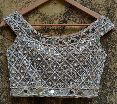 Off Shoulder Mirror and Bead Work Blouse Pattern