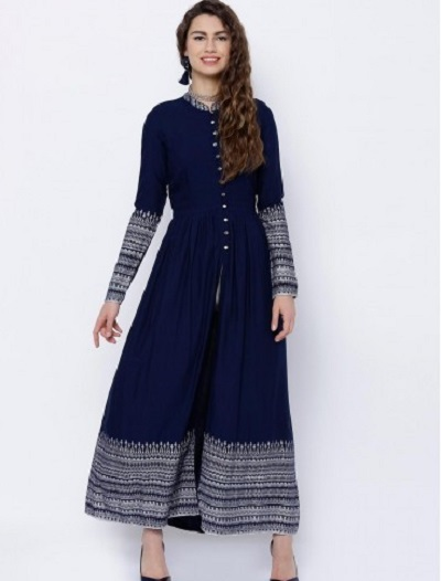 Office Wear Kurti With Contrasting Print And Centre Button Slit