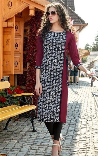 Panelled Kurta With Contrasting Print