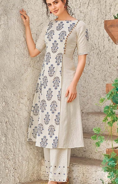 Panelled Office Wear Kurti With Side Button Placket