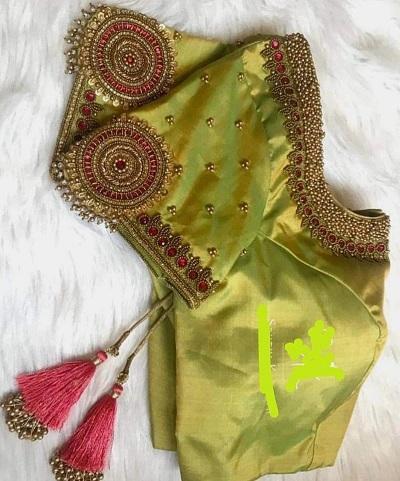 Parrot green silk stylish sleeves blouse