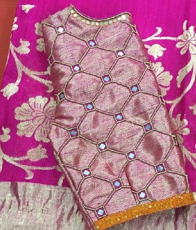 Pink Blouse with Square Mirror