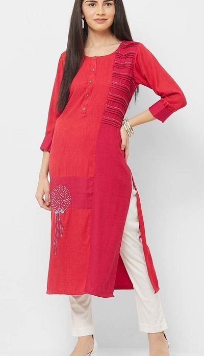 Red Cotton Kurta With Three Fourth Sleeves