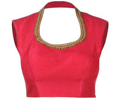Red backless blouse with back collar