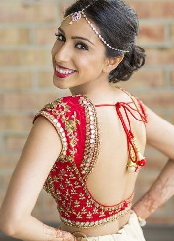 Red party wear lehenga and saree blouse
