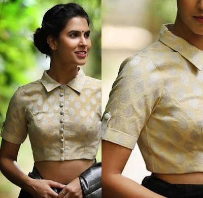 Short Sleeves Saree Blouse Design with Collar