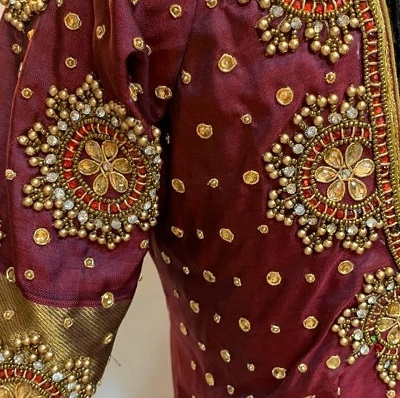 Silk saree with border maggam style blouse