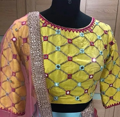 Simple Lehenga Saree Blouse With Multicolor Mirror