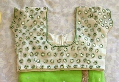 Simple Mirror Blouse with Plain Green Chiffon Saree