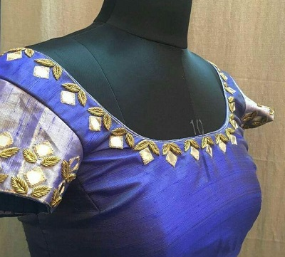 Simple Mirror and Zari Work Blue Blouse Design