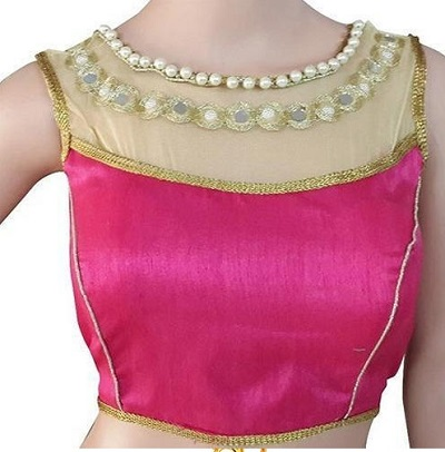Sleeveless Saree blouse design with pearls