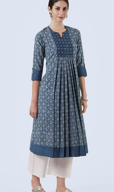 Stylish Centre Printed A Line Kurti For Office