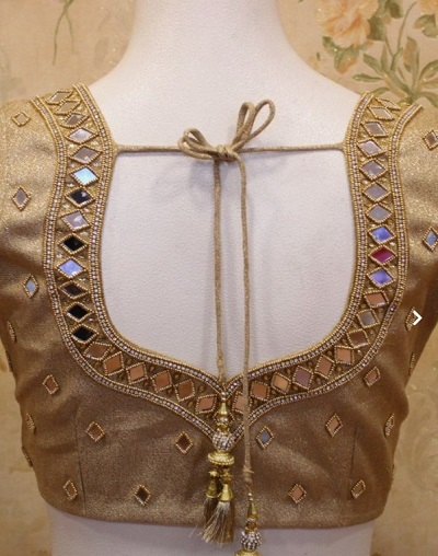 Stylish Copper Blouse Design with mirrors