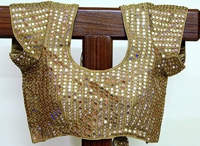 Stylish Golden Mirror Work Blouse for Saree