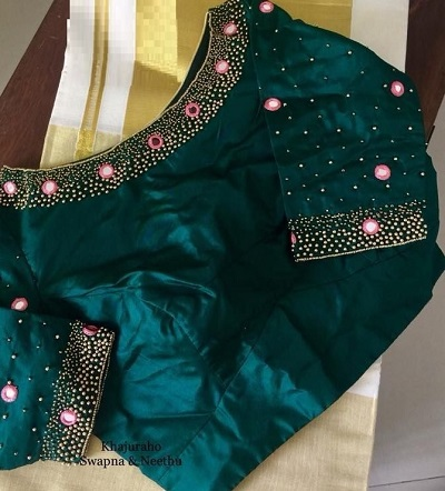 Stylish Green Satin Blouse with Boat Neckline Embellished With Mirror