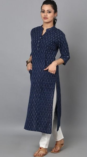 Stylish Kurti With Side Pockets For Office Wear