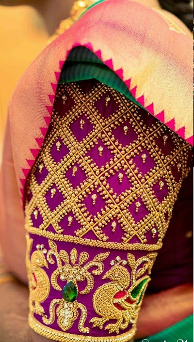 Stylish Pearl and gold bead designer blouse
