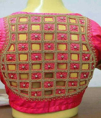 Stylish cut work at the back blouse design