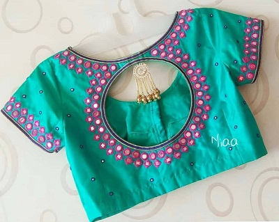 Teal blue blouse with mirror border