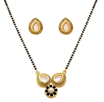 Pearl Mangalsutra Pattern With Matching Earrings