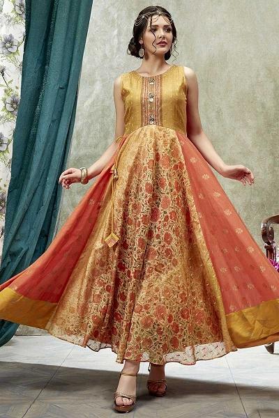 Beautiful kurti in Warm Colors