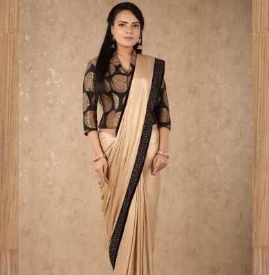Black Brocade Long Length Blouse Design