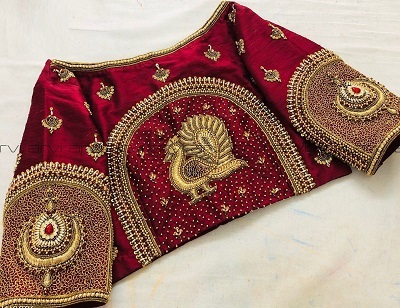 Bridal Blouse Golden Bead And Thread Embroidery Work