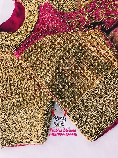 Designer Bridal Blouse With Golden Bead Work