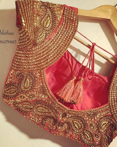 Kundan And Bead Work Blouse For Brides