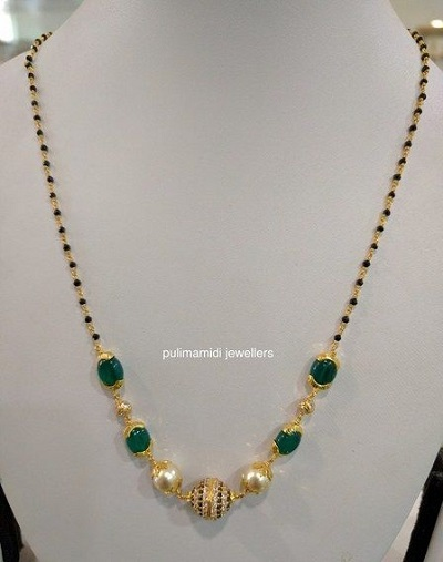 Pearl and gold black beaded chain style Mangalsutra