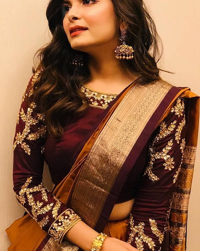 Satin maroon blouse with maggam work