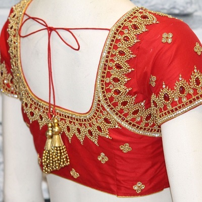 Simple Stone Work Red Silk Blouse For Bridal Attire