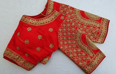 Thread Work Red Silk Saree Blouse For Brides