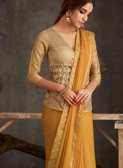 V Neckline Net Saree Blouse Design