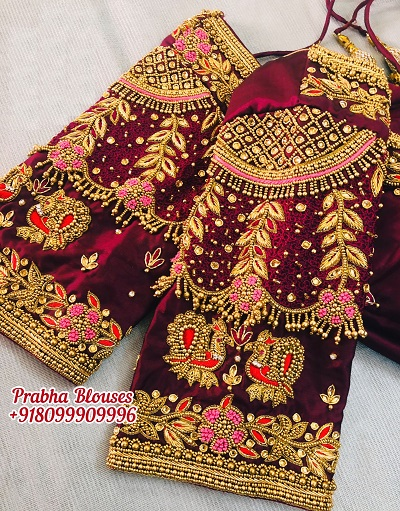 Velvet Blouse With Saree And Work For Brides
