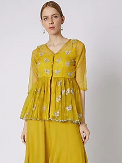 Yellow Georgette Embroidered Problem Style Long Blouse