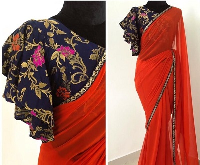 Brocade Saree Blouse with Butterfly Sleeves