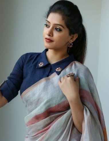 Collar Saree blouse pattern for formal occasions