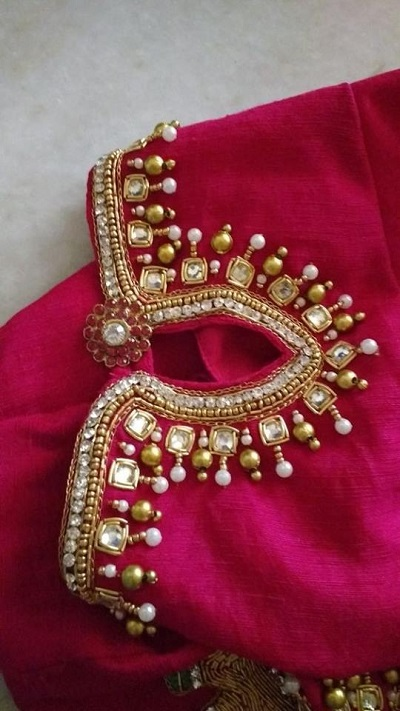Kundan And Zari Stylish Blouse Design
