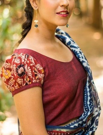 Puff Sleeves saree Blouse pattern