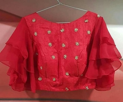 Red Style blouse with Butterfly Sleeves