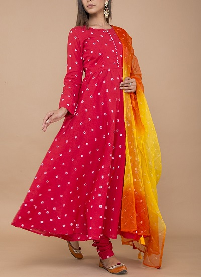 Red and Beige Bandhej suit