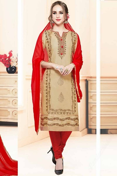 Beige and Red Churidar Dress Material for Women