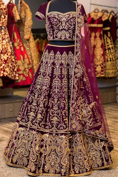Bridal Purple Design with heavy work