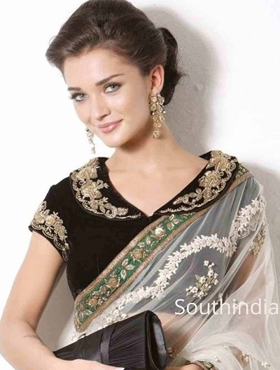 Collared Saree Blouse with Velvet fabric