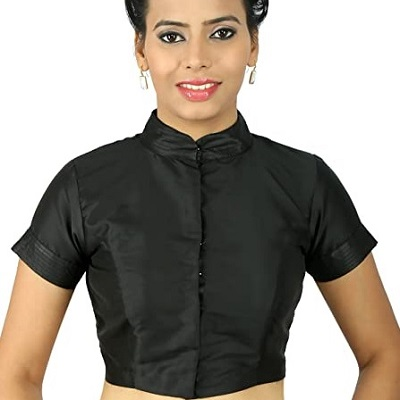 Front Opening Sleeves Black Saree Blouse